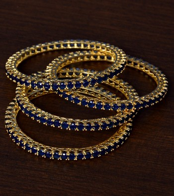Sapphire Stone Embellished Brass Made Two Pairs of Designer Bangles