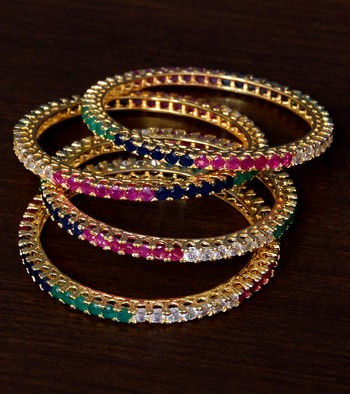 Ruby, Emerald, Sapphire and Diamond Embellished Brass Made Two Pairs of Bangles