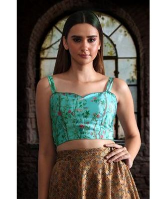 DIGITAL PRINTED CREPE BLOUSE WITH SWEET HEART NECKLINE