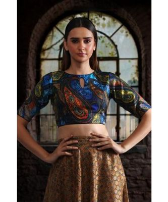 DIGITAL PRINTED CREPE BLOUSE WITH BACK OPEN SHOW LATKAN