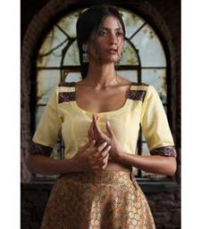 YELLOW BLOUSE WITH KALAMKARI BORDER