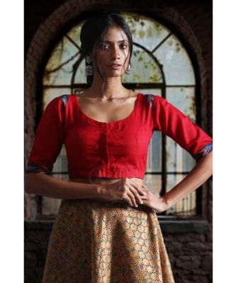 RED COTTON KALAMKARI BLOUSE