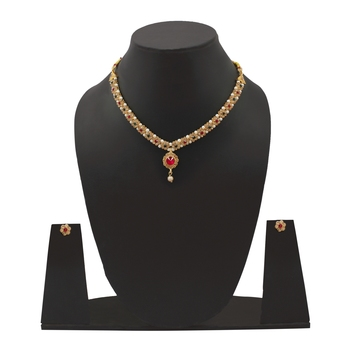 American Diamond Gold Plated Party Wear Wedding Necklace Set With Earring Jewellery for Women & Girls