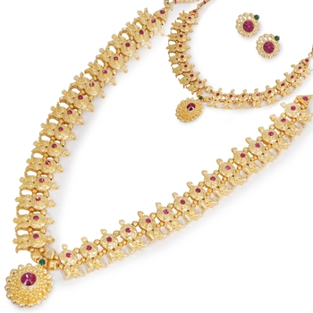 Maharashtrian  Kolhapuri Saaj Gold Plated Strand Traditional Necklace Set for Women and Girls COMBO SET