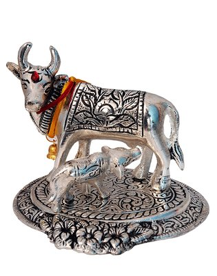 Cow and Calf, Holy Cow Spiritual Showpiece Figurine Sculpture House Warming Gift