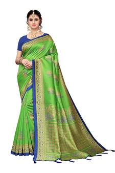 448525523d9 Green printed poly silk saree with blouse. Shop Now