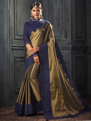 golden embroidered art silk saree with blouse