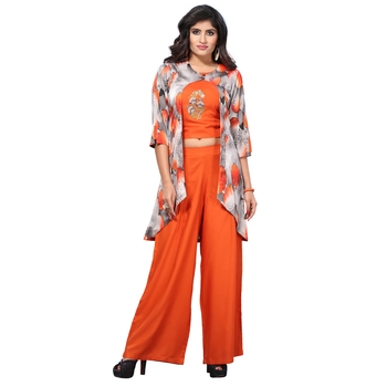 Orange Rayon Crop Top with Jacket and Palazzo Set for Women