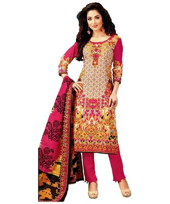 Multicolor Printed Lawn Cotton Unstitched Salwar With Dupatta