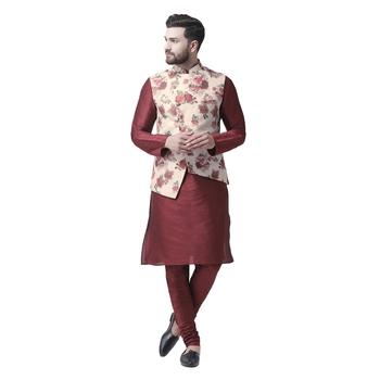 Maroon Printed Dupion Silk Kurta Pajama
