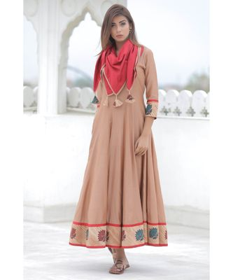 brown cotton Lotus anarkali kurta with scarf
