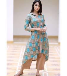 multicolor cotton printed cotton kurta with pants