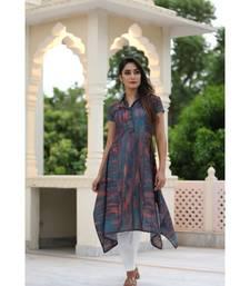 multicolor cotton printed collar kurta