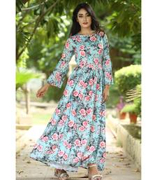 multicolor cotton floral print maxi dress with pleated sleeves