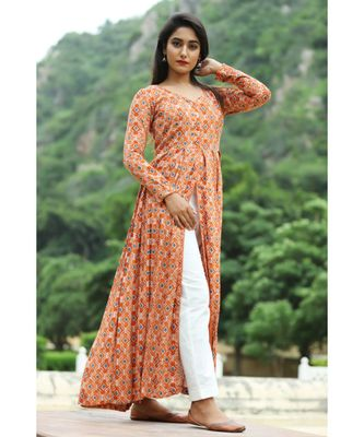 orange cotton cotton rayon front open kurta