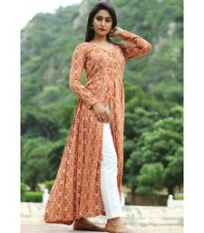 orange cotton cotton rayon front open kurta