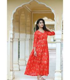 red cotton red foil print kurta with box pleates