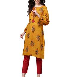 Mustard Cotton Printed Kurta