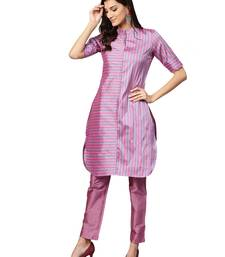 Purple Striped Art Silk Kurta
