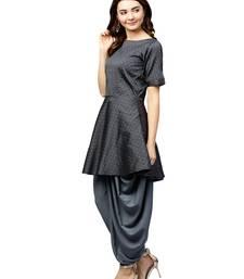 Grey Silk Blend Self Design Kurta