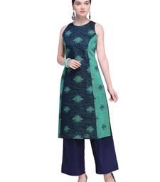 Navy Blue & Green Chanderi Cotton Woven Kurta
