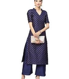 Blue Silk Blend Woven Kurta