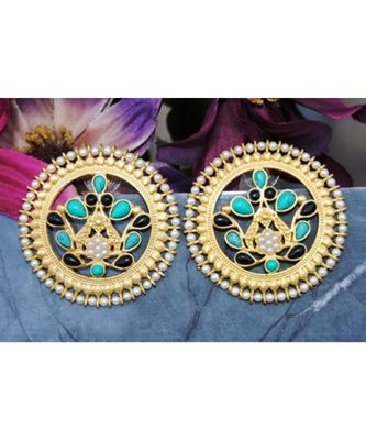 Black and Blue Onyx Stud Earrings