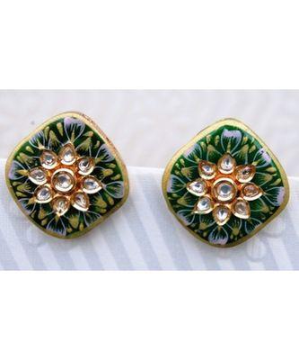 Enamel Floral Square Gold Stud Earrings