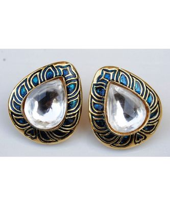 Leafy Blue Enamel Gold Stud Earrings
