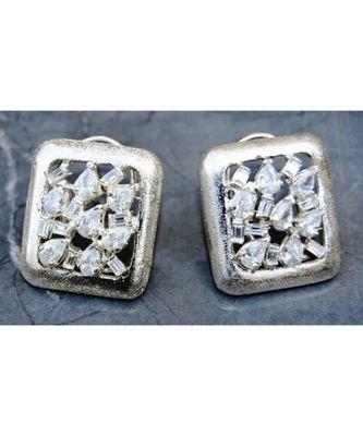 Uncut Diamonds Silver Stud Earrings