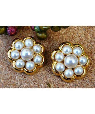 Pearly Floral Stud Earrings