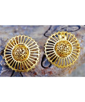Matte Gold Filigree Big Stud Earrings