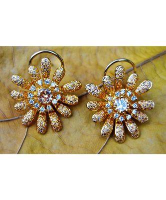 Floral American Diamond Stud Earrings