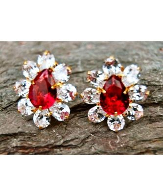 Ruby Diamond Gold Plated Floral Stud Earrings