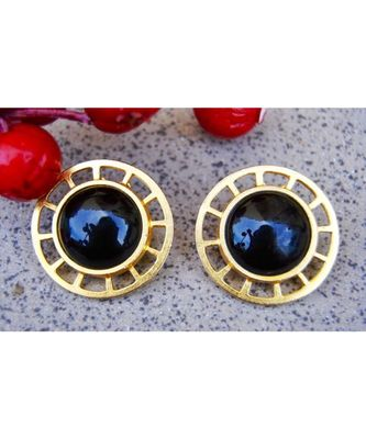 Matte Gold Wheel Stud with Black Onyx