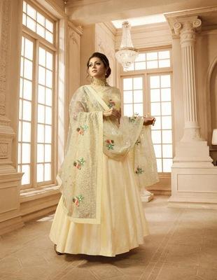 Yellow embroidered pure taffeta salwar