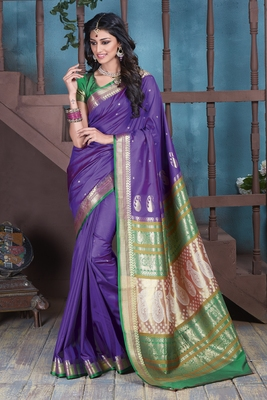 Purple hand woven silk blend saree with blouse