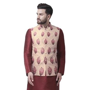 Beige Printed Dupion Silk Nehru Jacket