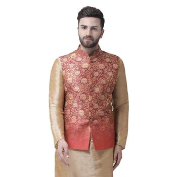 Red Printed Dupion Silk Nehru Jacket