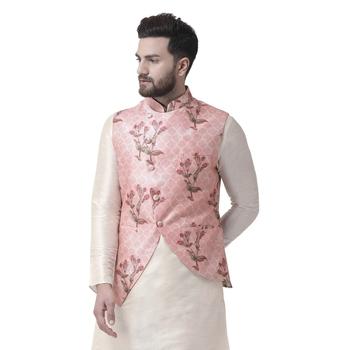 Pink Printed Dupion Silk Nehru Jacket