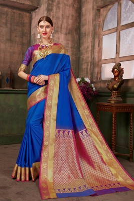 Blue hand woven silk blend saree with blouse