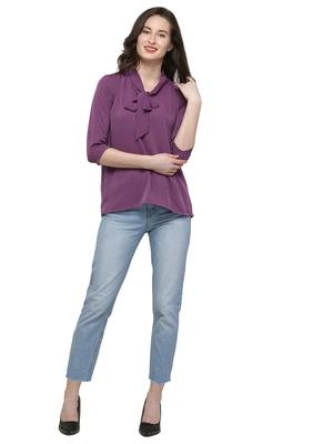 Purple plain crepe tops