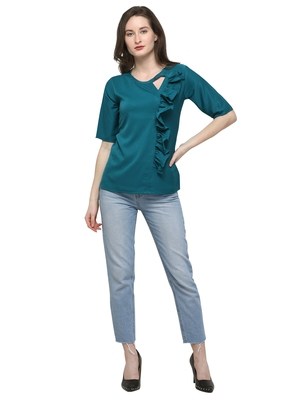 Turquoise plain crepe tops