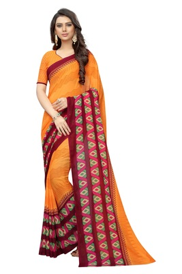 Orange printed Georgette saree with blouse