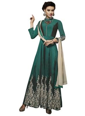 Green Embroidered Taffeta Stitched Salwar With Dupatta