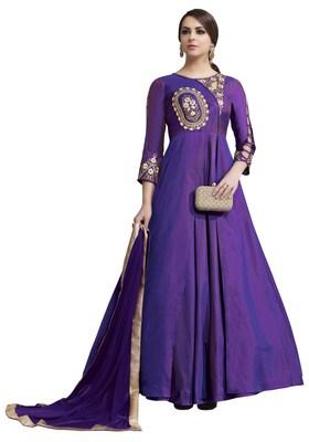 Purple Embroidered Taffeta Stitched Salwar With Dupatta