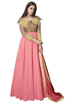 Pink Embroidered Georgette Stitched Salwar With Dupatta