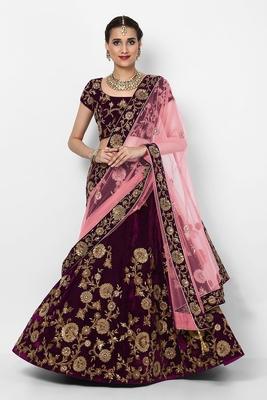 Amazing Purple Colored Embroidered Velvet Designer Bridal Lehenga Choli For Wedding