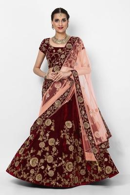Amazing Maroon Colored Embroidered Velvet Designer Bridal Lehenga Choli For Wedding
