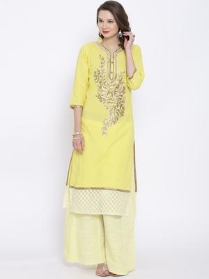 Yellow plain linen kurta sets